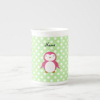 Lunares rosados conocidos personalizados del verde taza de porcelana