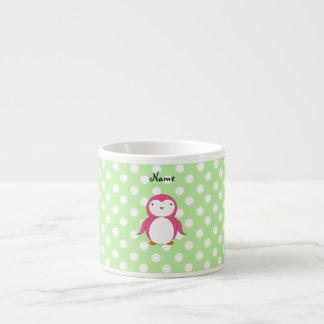 Lunares rosados conocidos personalizados del verde taza espresso