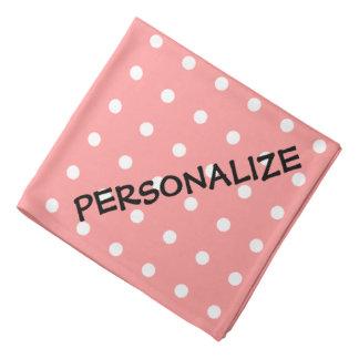 Lunares rosados coralinos personalizados del pañue bandanas