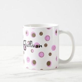 Lunares rosados de Brown cones monograma Taza Básica Blanca