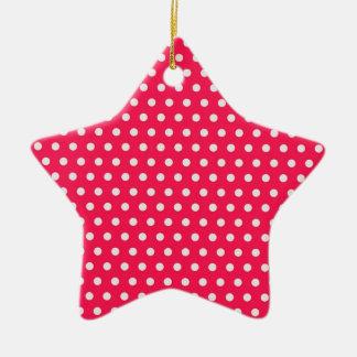 Lunares rosados de la fresa adorno de cerámica en forma de estrella