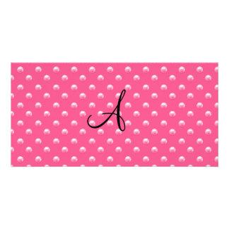 Lunares rosados de la perla del monograma tarjeta personal con foto