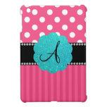 Lunares rosados de la raya del monograma iPad mini cobertura