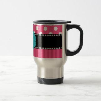 Lunares rosados de la raya del monograma tazas de café