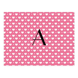 Lunares rosados de los corazones del monograma postal