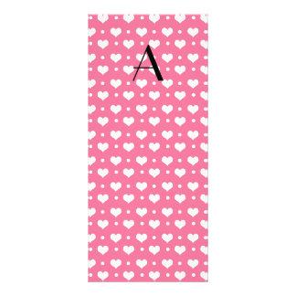 Lunares rosados de los corazones del monograma tarjeta publicitaria personalizada