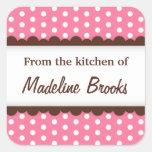 Lunares rosados de moda elegantes de la cocina de calcomanías cuadradass