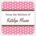 Lunares rosados de moda elegantes de la cocina de calcomania cuadrada personalizada