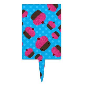 Lunares rosados del azul de las magdalenas figuras para tartas