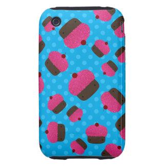 Lunares rosados del azul de las magdalenas tough iPhone 3 cárcasa