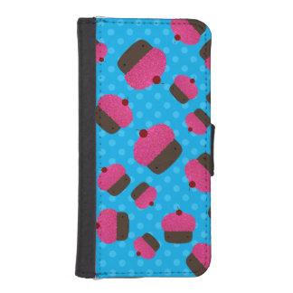 Lunares rosados del azul de las magdalenas cartera para iPhone 5