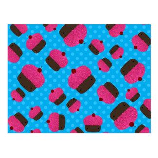 Lunares rosados del azul de las magdalenas tarjetas postales