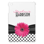 Lunares rosados del blanco del negro de la margari iPad mini fundas