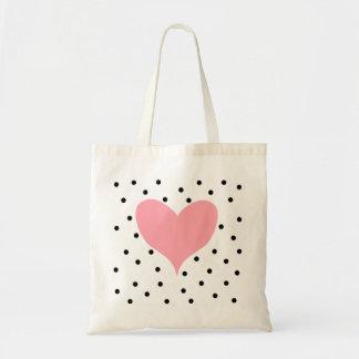 Lunares rosados del corazón bolsa lienzo