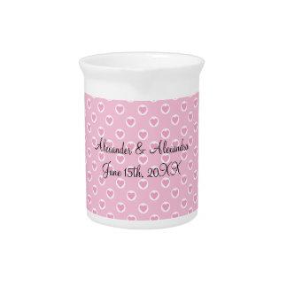 Lunares rosados del corazón que casan favores jarra
