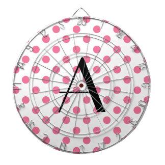 Lunares rosados del monograma tablero de dardos