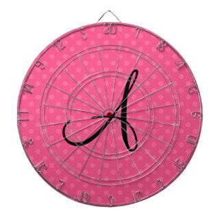 Lunares rosados del monograma tabla dardos