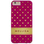 Lunares rosados elegantes femeninos del brillo del funda de iPhone 6 plus barely there