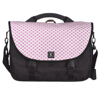 Lunares rosados en blanco bolsas de portatil