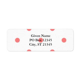 Lunares rosados en blanco etiqueta de remite