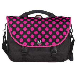 Lunares rosados en el negro (grande) bolsas para portatil