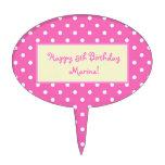 lunares rosados, feliz cumpleaños decoraciones de tartas