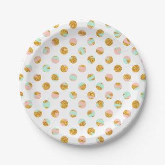 Lunares rosados femeninos modernos del brillo del plato de papel de 7 pulgadas