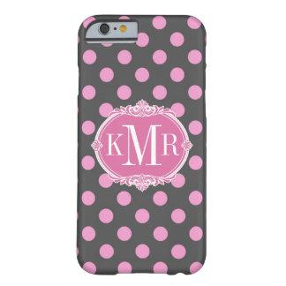 Lunares rosados femeninos - monograma del marco funda de iPhone 6 barely there