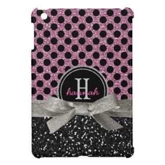 Lunares rosados glamorosos y monograma del brillo iPad mini carcasas