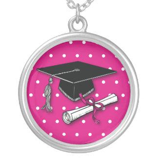 Lunares rosados gorra, diploma de la graduación grímpola
