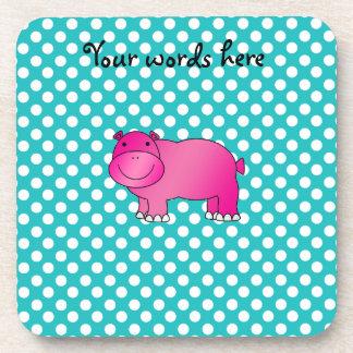 Lunares rosados lindos de la turquesa del hipopóta posavasos de bebida