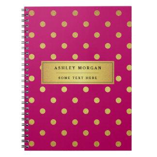 Lunares rosados modernos del brillo del oro cuaderno