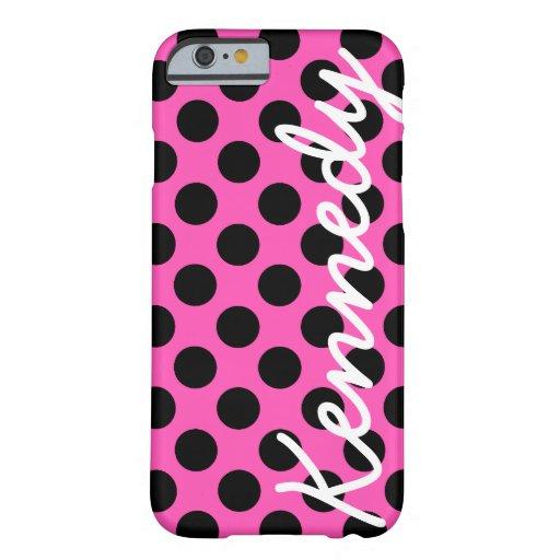 Lunares rosados negros funda de iPhone 6 barely there