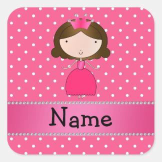 Lunares rosados personalizados de la princesa calcomania cuadradas personalizada