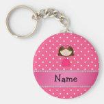 Lunares rosados personalizados de la princesa rosa llaveros personalizados