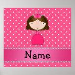 Lunares rosados personalizados de la princesa rosa poster