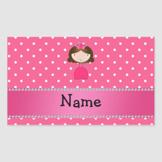 Lunares rosados personalizados de la princesa rosa rectangular pegatinas