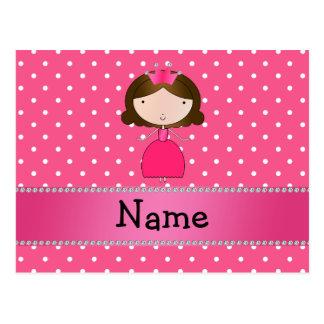 Lunares rosados personalizados de la princesa rosa postal