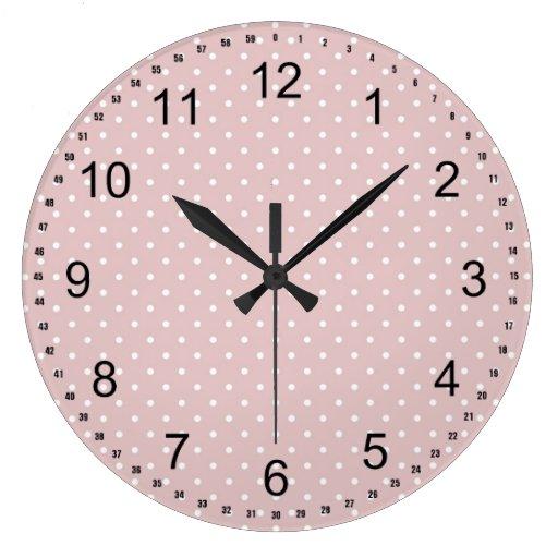 Lunares rosados reloj de pared