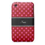 Lunares rosados rojos conocidos personalizados iPhone 3 Case-Mate coberturas