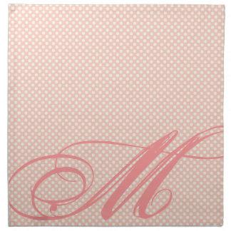 Lunares rosados suaves,etiqueta y monograma servilletas