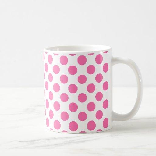 lunares rosados taza básica blanca