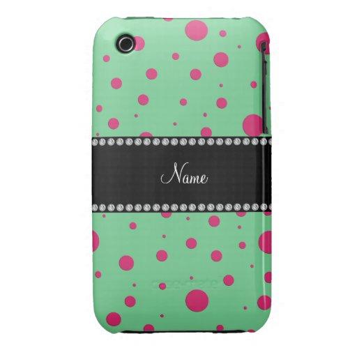 Lunares rosados verdes conocidos personalizados iPhone 3 protectores