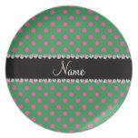 Lunares rosados verdes conocidos personalizados platos para fiestas