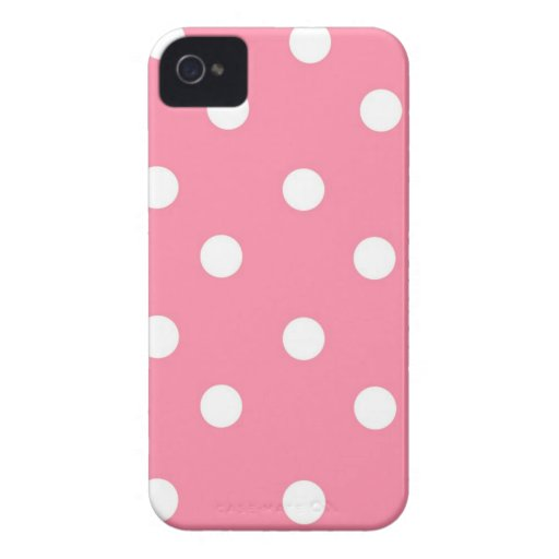 Lunares rosados y blancos Case-Mate iPhone 4 funda