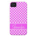 Lunares rosados y blancos conocidos personalizados Case-Mate iPhone 4 carcasas