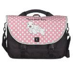 Lunares rosados y blancos de cría de foca linda bolsas para portátil