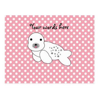 Lunares rosados y blancos de cría de foca linda postales