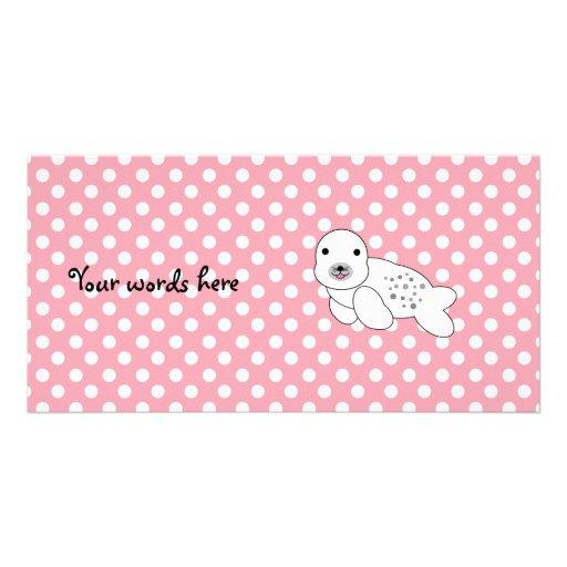 Lunares rosados y blancos de cría de foca linda tarjetas con fotos personalizadas