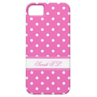 Lunares rosados y blancos elegantes iPhone 5 funda